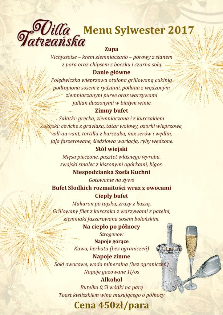 menu sylwester 2017