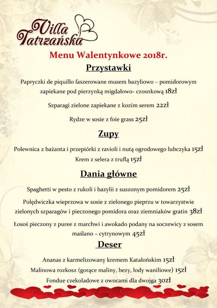 menu walentynki 2018